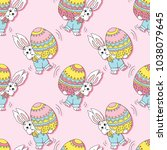 seamless pattern with easter... | Shutterstock .eps vector #1038079645