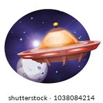 alien spaceship traveling on... | Shutterstock .eps vector #1038084214