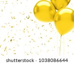 yellow baloons on the top right ... | Shutterstock . vector #1038086644