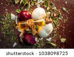 close up of oil of onion or... | Shutterstock . vector #1038098725