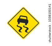 slippery road warning sign with ... | Shutterstock . vector #1038100141