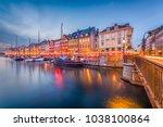 copenhagen  denmark skyline on... | Shutterstock . vector #1038100864