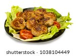 meat cutlets on lettuce leaves... | Shutterstock . vector #1038104449