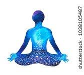 chakra human lotus pose yoga ... | Shutterstock . vector #1038105487