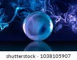 crystal ball in a dark blue... | Shutterstock . vector #1038105907
