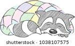 cheerful racoon sleeping in a... | Shutterstock .eps vector #1038107575