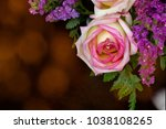 pink yellow rose with bokeh... | Shutterstock . vector #1038108265