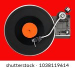 abstract vintage turntable on... | Shutterstock . vector #1038119614