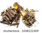 ayurvedic herb liquorice root... | Shutterstock . vector #1038121309