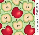 juicy apple pattern | Shutterstock .eps vector #1038122824