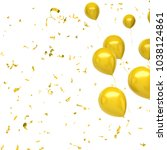 yellow baloons on the top right ... | Shutterstock . vector #1038124861