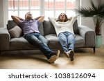 young couple relaxing having... | Shutterstock . vector #1038126094
