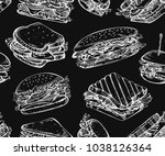 seamless pattern with sketch... | Shutterstock .eps vector #1038126364