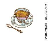 vintage porcelain cup with tea  ... | Shutterstock .eps vector #1038130975