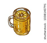 glass mug with tea and lemon... | Shutterstock .eps vector #1038140791