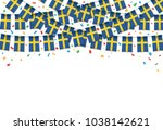 sweden flags garland white... | Shutterstock .eps vector #1038142621