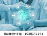 health insurance concept ... | Shutterstock . vector #1038143191