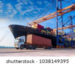 the container vessel  during... | Shutterstock . vector #1038149395