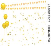 yellow baloons with gold... | Shutterstock . vector #1038150997