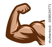muscle arms. strong bicep icon  | Shutterstock .eps vector #1038154771