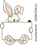 cute bunny holding blank label... | Shutterstock .eps vector #1038155611