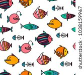 vector seamless pattern with... | Shutterstock .eps vector #1038159967