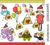 christmas green shopping bag... | Shutterstock .eps vector #1038160495