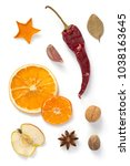 dried fruit and spices isolated ... | Shutterstock . vector #1038163645