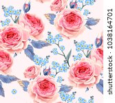 english roses seamless | Shutterstock .eps vector #1038164701