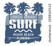 surfing artwork. miami beach... | Shutterstock .eps vector #1038165115