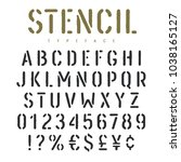 stencil alphabet with grunge... | Shutterstock .eps vector #1038165127