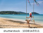 summer vacations concept  happy ... | Shutterstock . vector #1038165511