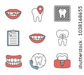 dentistry color icons set.... | Shutterstock .eps vector #1038168655