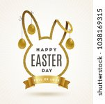easter greeting card. cut from... | Shutterstock .eps vector #1038169315