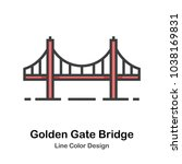 golden gate bridge line color... | Shutterstock .eps vector #1038169831