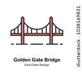 golden gate bridge line color...   Shutterstock .eps vector #1038169831