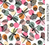 seamless pattern with... | Shutterstock .eps vector #1038171967