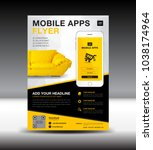 mobile apps flyer template.... | Shutterstock .eps vector #1038174964