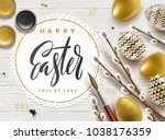 easter greeting illustration.... | Shutterstock .eps vector #1038176359