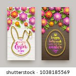 easter greeting illustration.... | Shutterstock .eps vector #1038185569