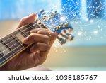 musician hand playing guitar... | Shutterstock . vector #1038185767