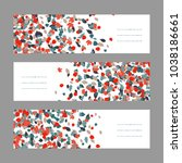 autumn banner set. red and blue ... | Shutterstock . vector #1038186661