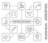 tattoo studio mind map with... | Shutterstock .eps vector #1038187651
