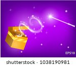 magic wand with waves from the... | Shutterstock .eps vector #1038190981