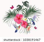 beautiful floral exotic vector... | Shutterstock .eps vector #1038191467