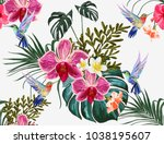 beautiful floral exotic vector... | Shutterstock .eps vector #1038195607