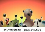 skyline of an alien city in a... | Shutterstock .eps vector #1038196591