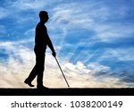 silhouettes of a blind disabled ... | Shutterstock . vector #1038200149