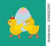 chicken and eggs on the green... | Shutterstock . vector #1038202285