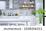 modern and loft  kitchen ... | Shutterstock . vector #1038206311
